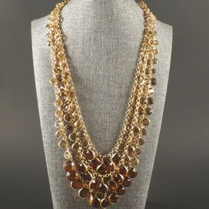 Chico's Gold and Amber Multistrand Necklace